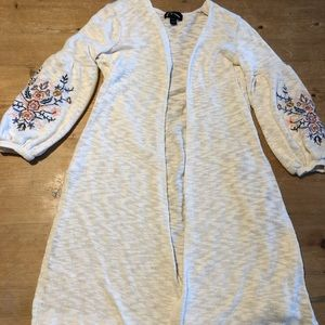 Really cute embroidered long cardigan XS 4/5